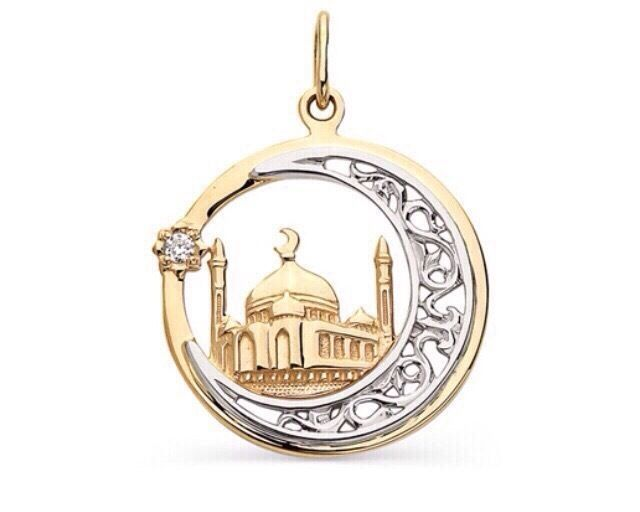 pendant mosque  Muslim crescent with star