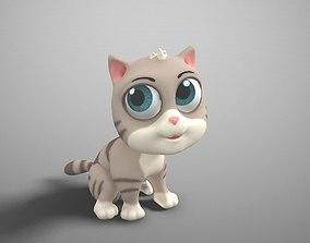3D model cartoon gray cat