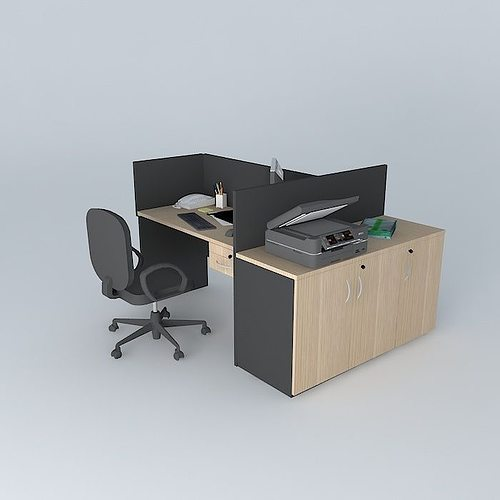 Workstation with printer pool free 3d model max obj 3ds 3d printer models free