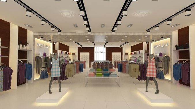 clothing store interior 3d model 3d model max tga 1