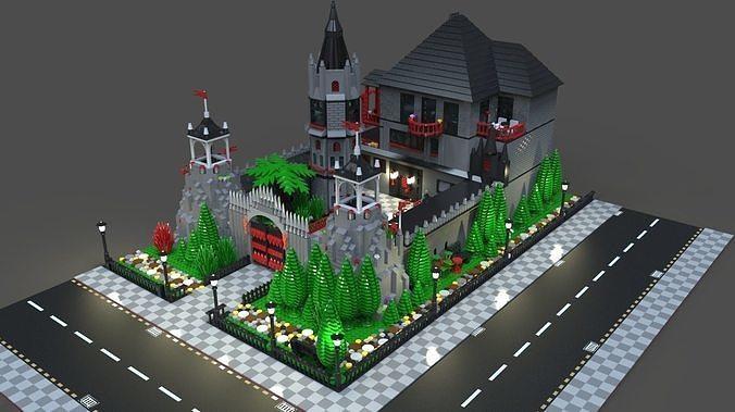 lego mansion 3d model obj mtl fbx c4d 1