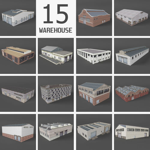 15 industrial buildings collection i 3d model low-poly max obj mtl fbx dae 1