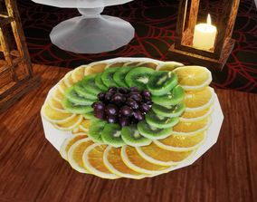 3D model Sliced fruits Norvedem food