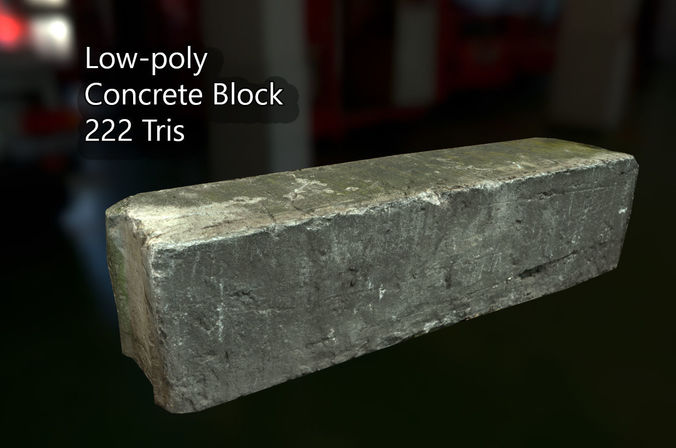 pbr concrete block 3d model low-poly fbx 1