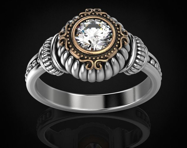 stylish ring with a large diamond 443 3d model stl 3dm 1