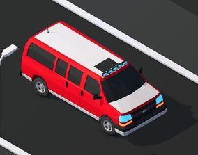 Cartoon Low Poly Van Vehicle 3D model