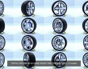 ORTAS CAR RIM 49-50 GAME READY RIM TIRE AND DISC 3D model