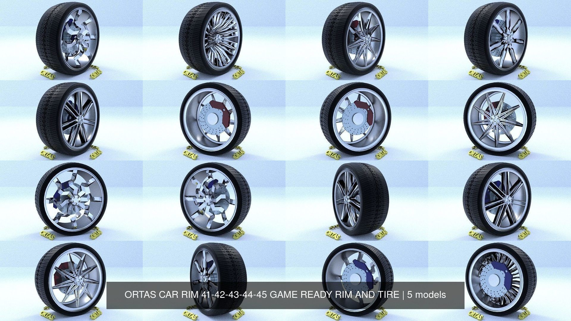 ORTAS CAR RIM 41-42-43-44-45 GAME READY RIM AND TIRE