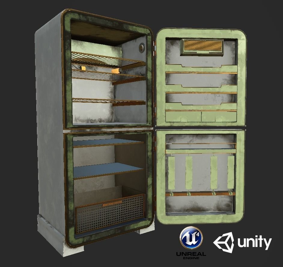 Dirty and Clear Refrigerator set Unity and Unreal Game Ready