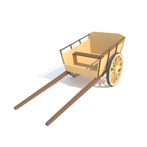 wooden wagon 3d model low-poly max fbx 1