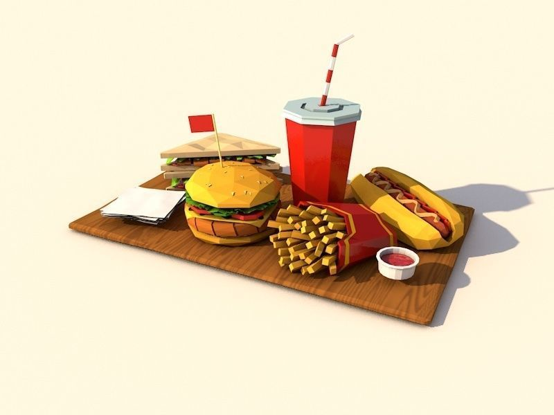 Cartoon Low Poly Paper Food Pack