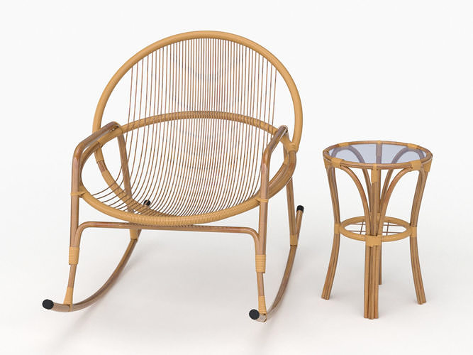 3d Model Bamboo Rockingchair And Table Cgtrader