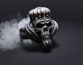 3D print model skull ring with crown