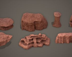3D model Desert Rock Set Low-Poly PBR