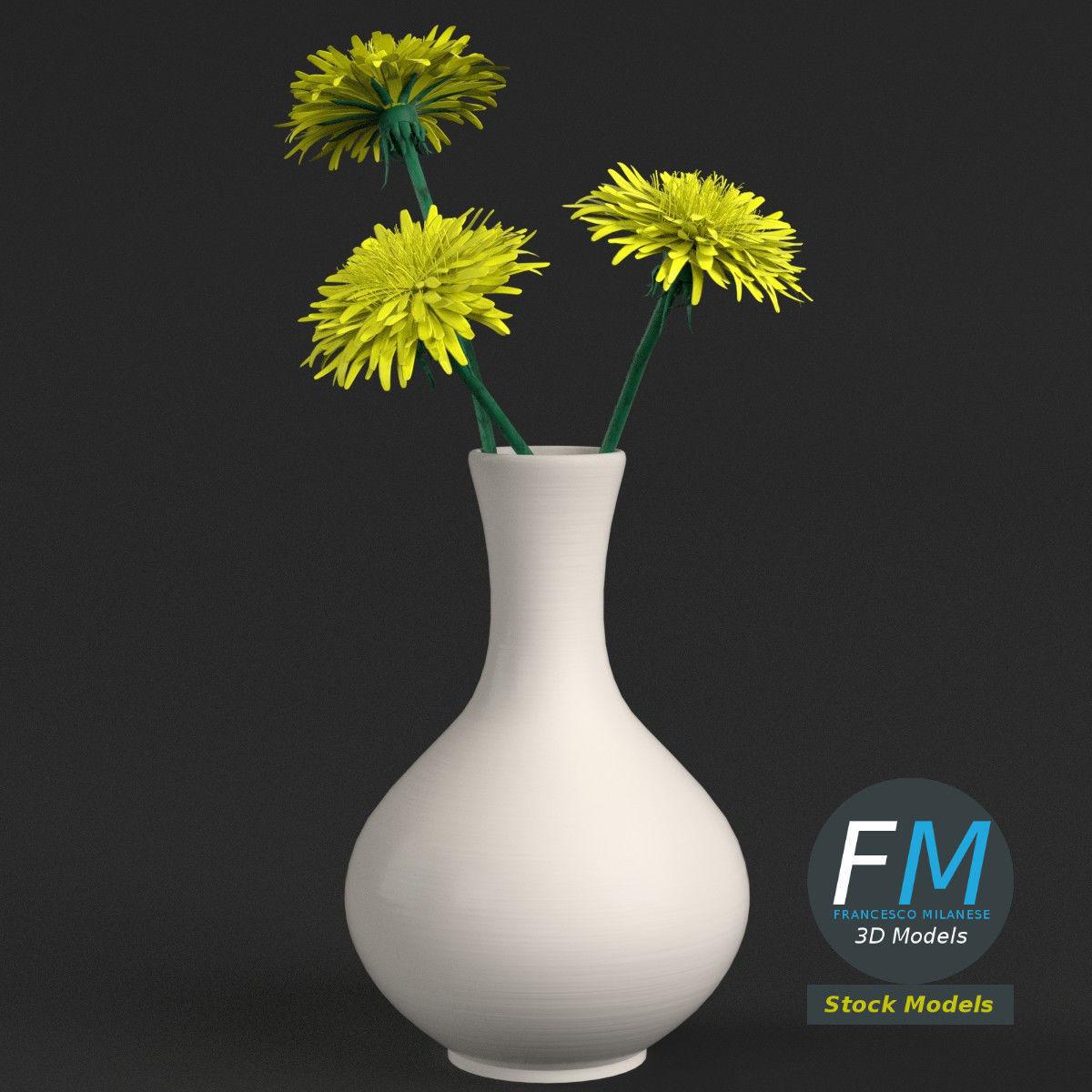Dandelion flowers in a vase