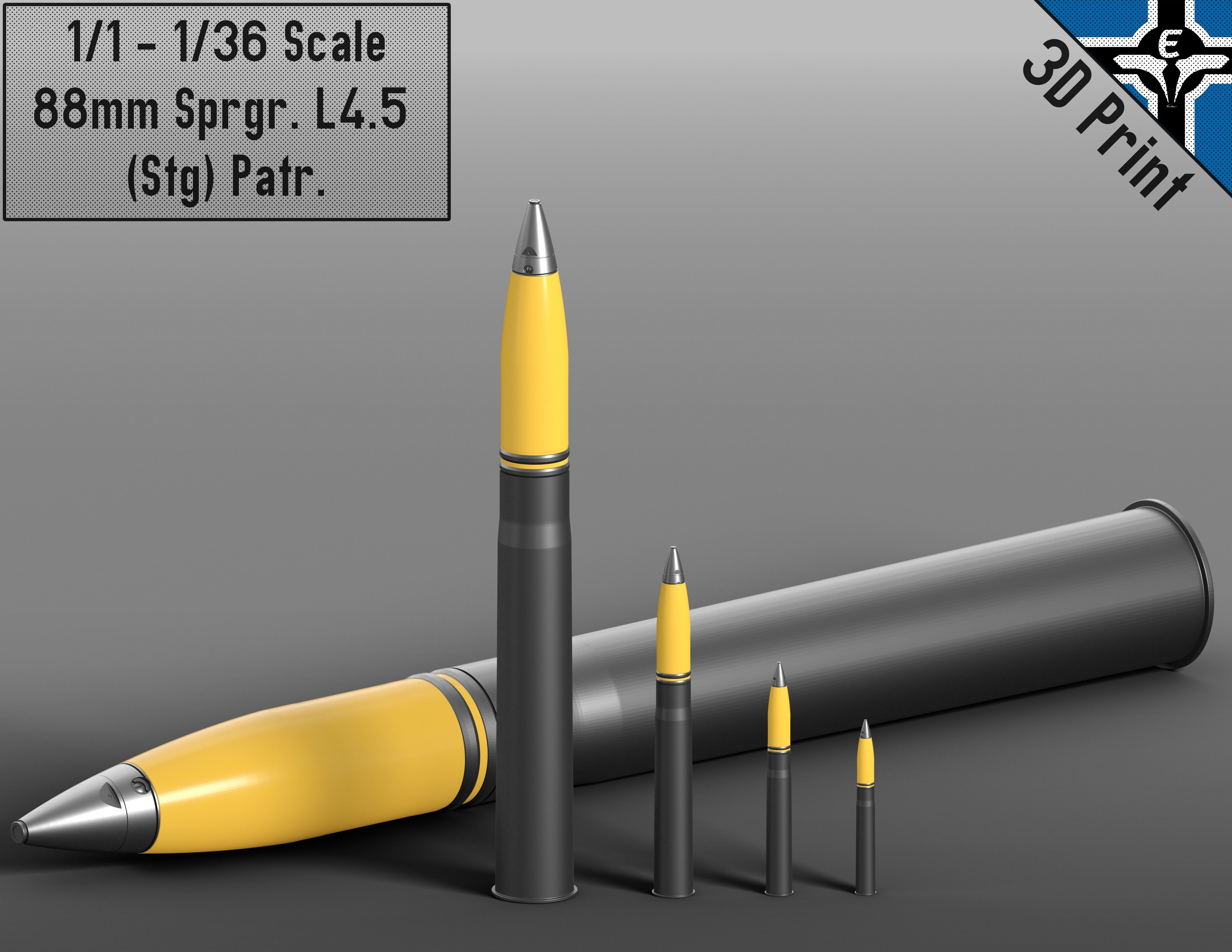 Small Scale - 88mm Sprgr L4-5 Stg Patr --- KwK 36 - Flak 18 | 3D Print Model