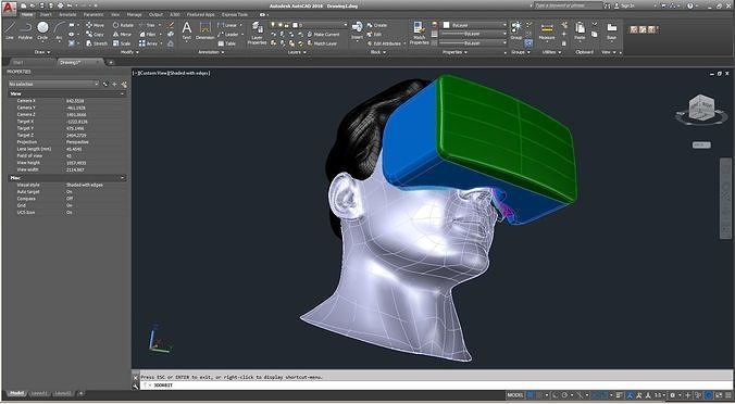 cad male head model m2p1d0v1head and vr headset template