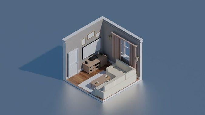 3d isometric low poly living rooms 3d model low-poly obj mtl 3ds fbx blend x3d 1