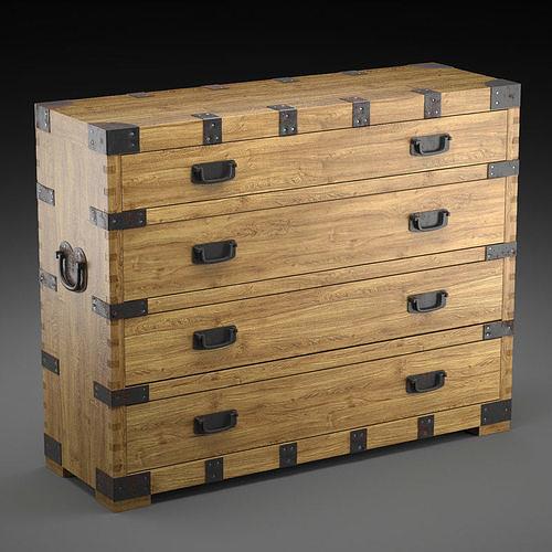 chest vintage antique oak 3d model max obj mtl fbx 1