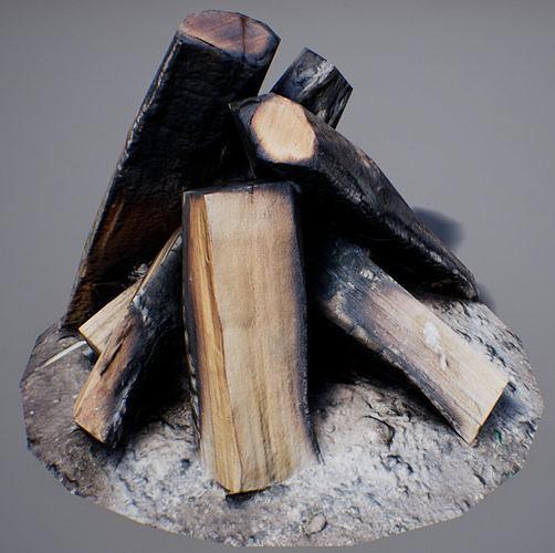 firewood - game ready 3d model low-poly max obj mtl fbx uasset 1