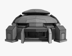 Low-poly Sci-fi Bunker Building 3D asset