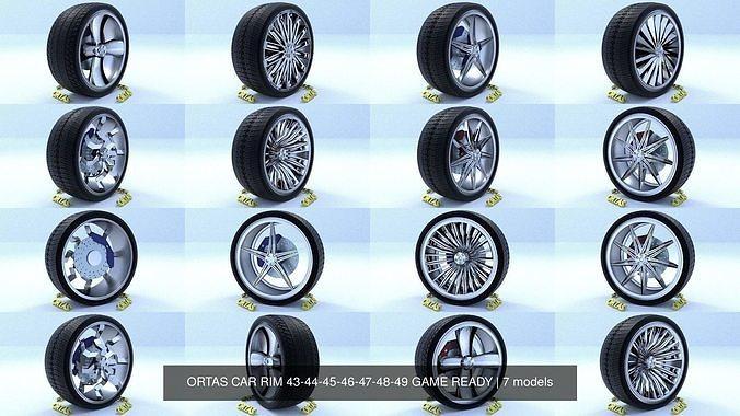 ortas car rim 43-44-45-46-47-48-49 game ready 3d model obj mtl fbx 1