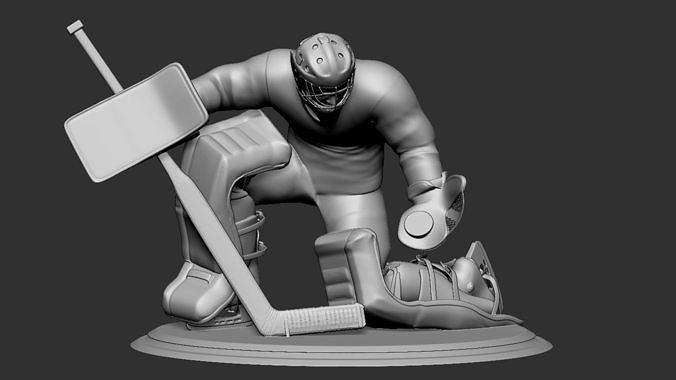 hockey player goalie collectible figure statue 3d print pose 06 3d model obj mtl stl 1