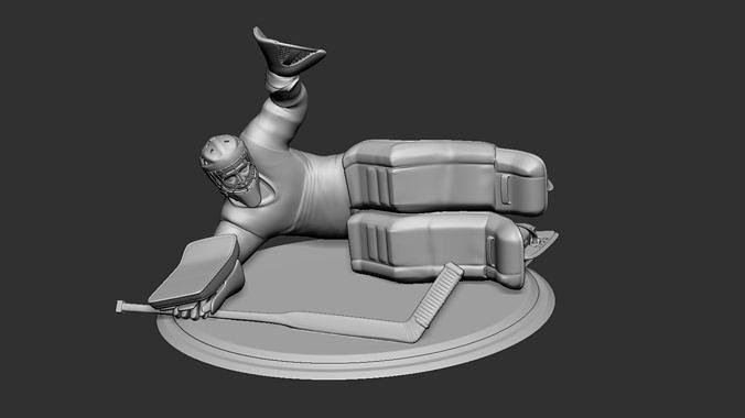 hockey player goalie collectible figure statue 3d print pose 07 3d model obj mtl stl 1