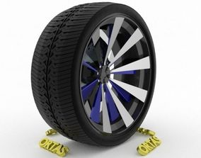 ORTAS CAR WHEEL RIM 93 GAME READY WHEEL RIM TIRE 3D