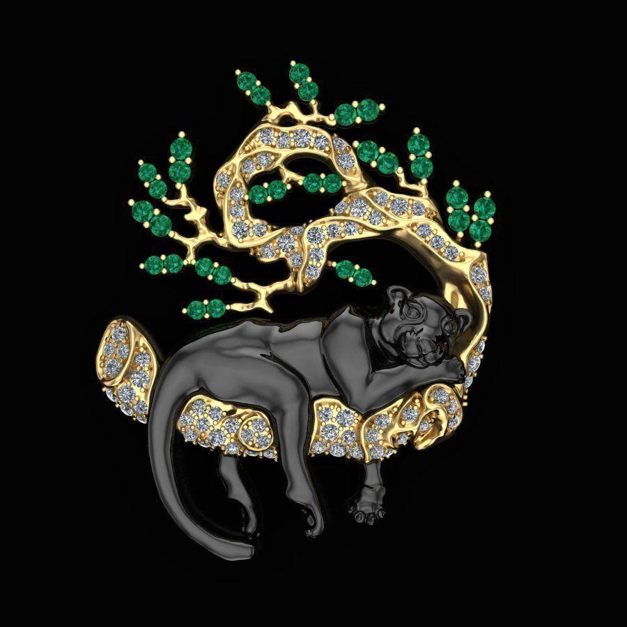 Sleeping panther brooch gem