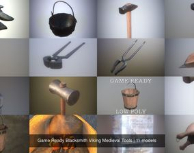 Game Ready Blacksmith Viking Medieval Tools 3D