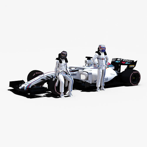 williams fw41 3d model low-poly rigged obj mtl 3ds fbx c4d ma mb stl 1