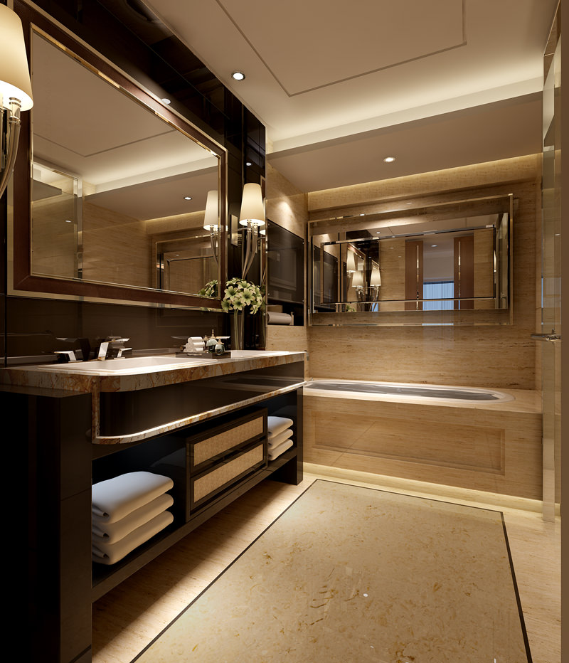 Bathroom Model photo real bedroom and bathroom interior 3d model max