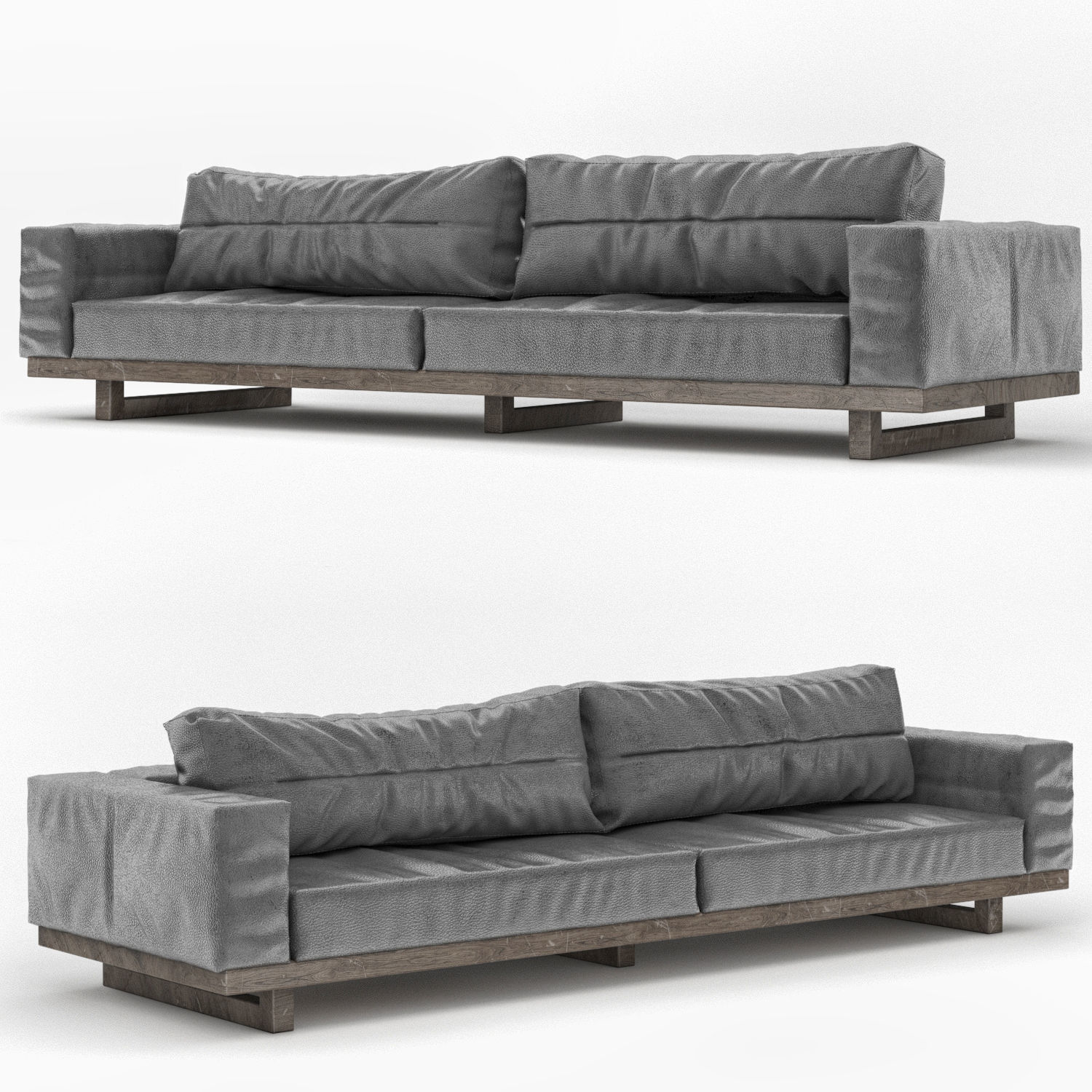 Picture of: Dark Gray Leather Sofa 3d Model Cgtrader