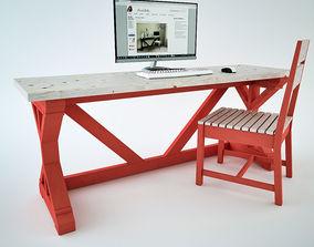 Fancy X Desk 3D asset