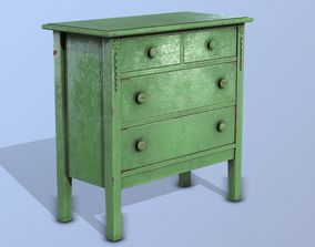 3D model Commode Old Green VR AR Low Poly Game