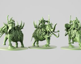 3D printable model ogre on battle elephant