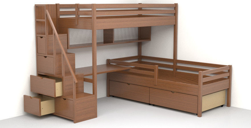 3d Model Children Bunk Bed Made Of Solid Wood Cgtrader