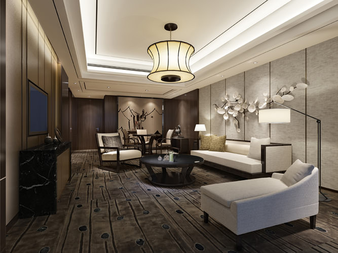 3d dark color living room photo real cgtrader - Living room realty ...