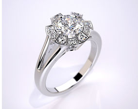 Engagement ring with round gemstone 015 3D print model