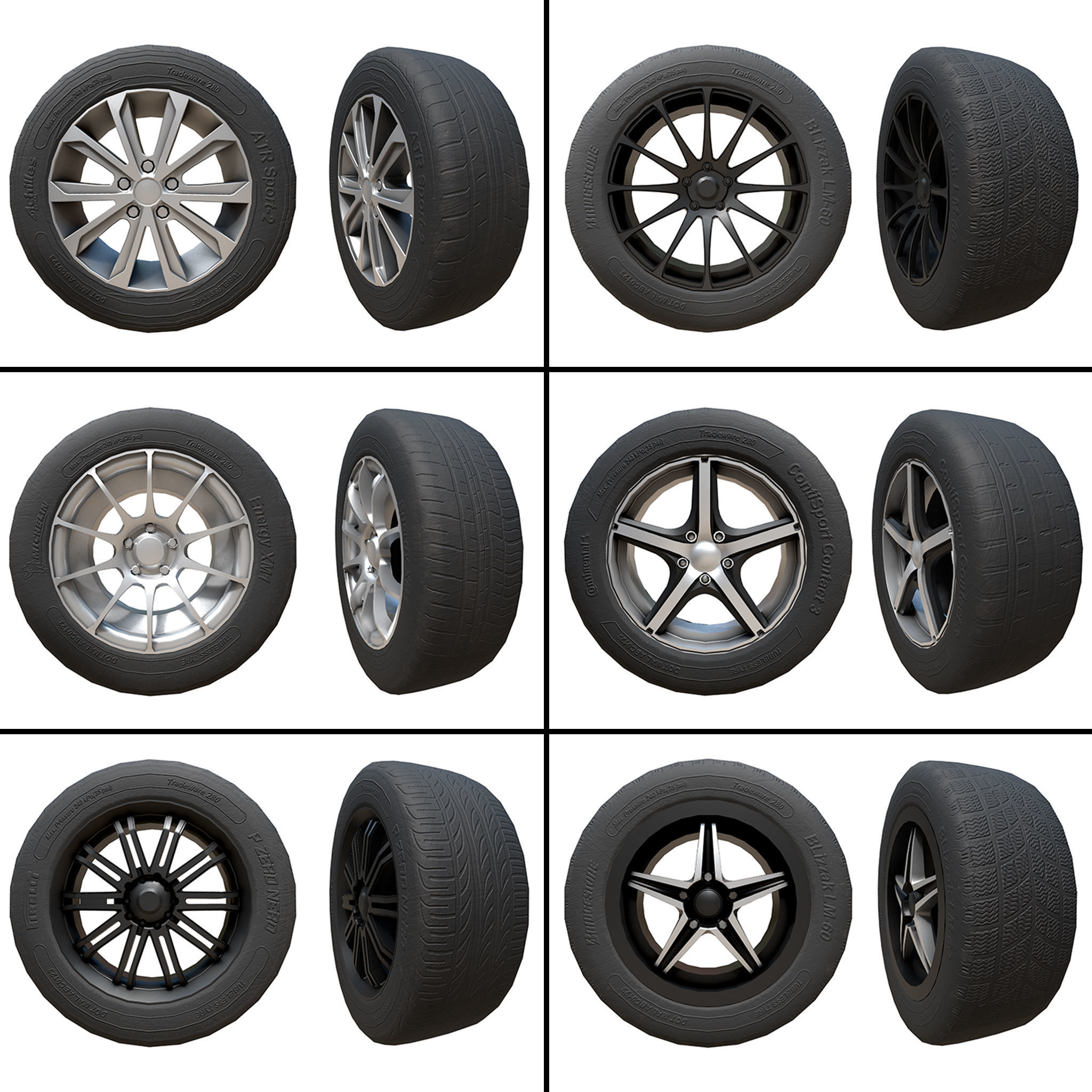 Pack of Tyres and Alloys - 6 Alloy Wheels and 5 Tyre Textures