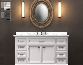 Wide Washbasin Kent 3 colours 3D