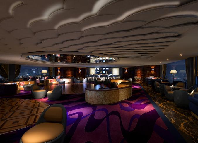 Bar lounge photo real interior 3d model max for Food bar 3d model