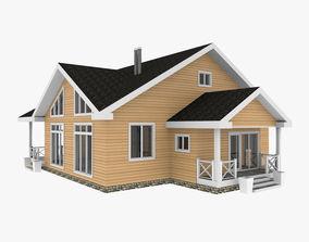 Wooden Log House 3D