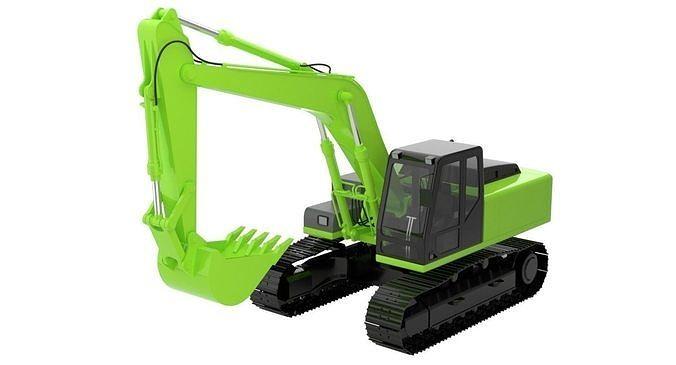 excavator 1 untextured 3d model obj mtl fbx blend 1