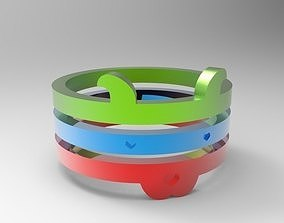 3 piece dog shaped ring 3D