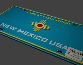 3D model NEW MEXICO licence plate