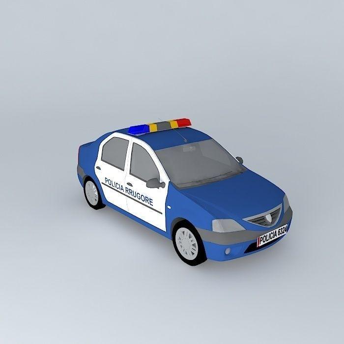3d Model Dacia Logan Albanian Police Car Cgtrader