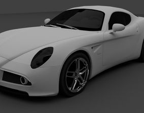 Sports car Game Ready low poly 3D asset