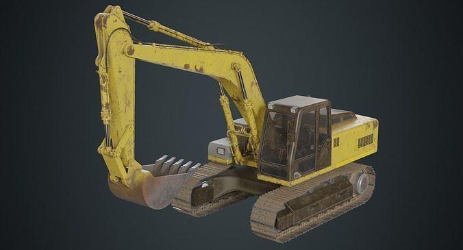excavator 1b 3d model low-poly obj mtl fbx blend 1